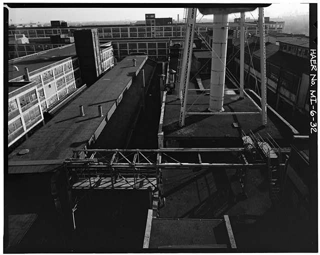 Dodge Hamtramck Plant ROOFTOP VIEW OF MAIN BUILDINGS #2 AND #3, 1980
