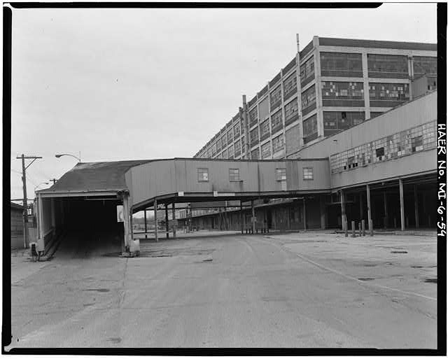 Dodge Hamtramck Plant RAMP INTO SECOND FLOOR CAR REPAIR BUILDING, 1980