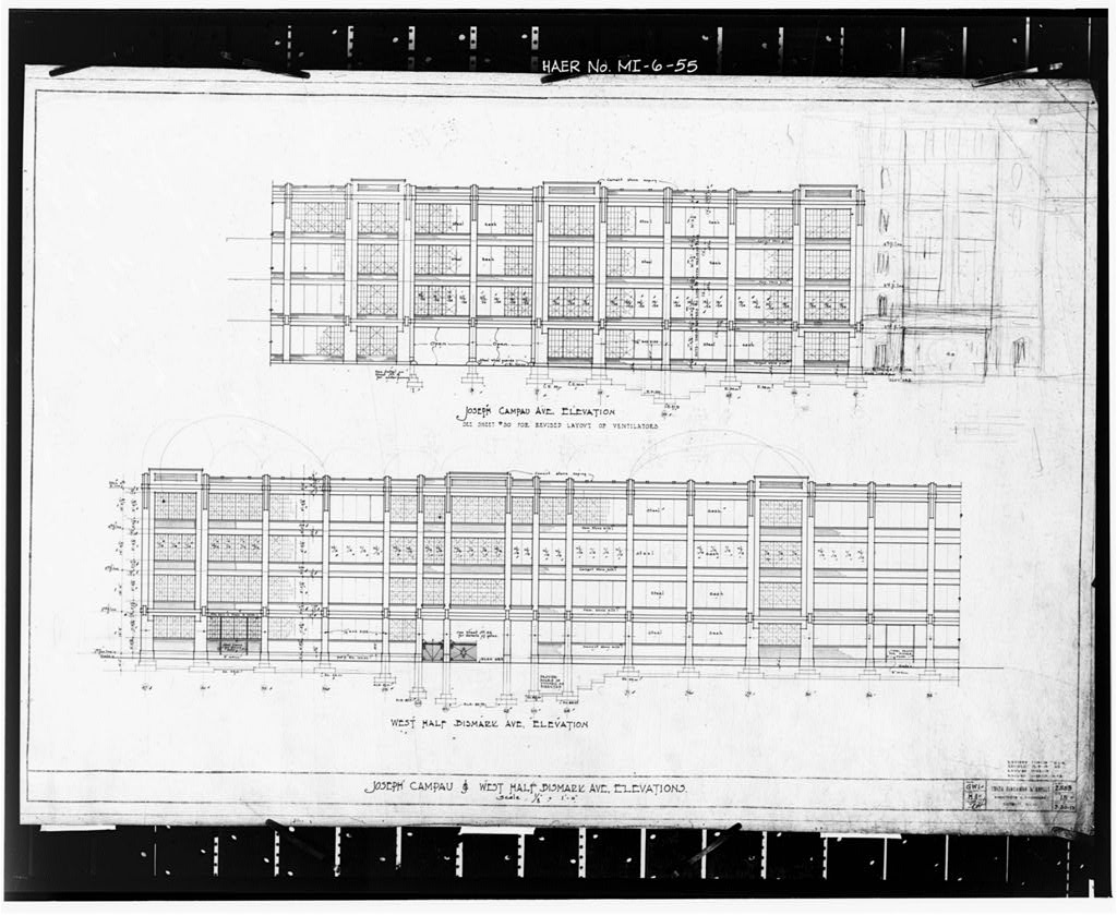 Photocopy of original drawing, 1913 (S, H and G) ASSEMBLING BUILDING #1, ELEVATIONS