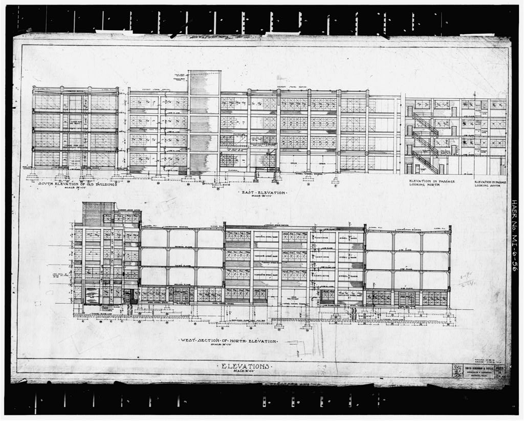 Photocopy of original drawing, 1913 (S, H, and G) ASSEMBLING BUILDING #1, ELEVATIONS