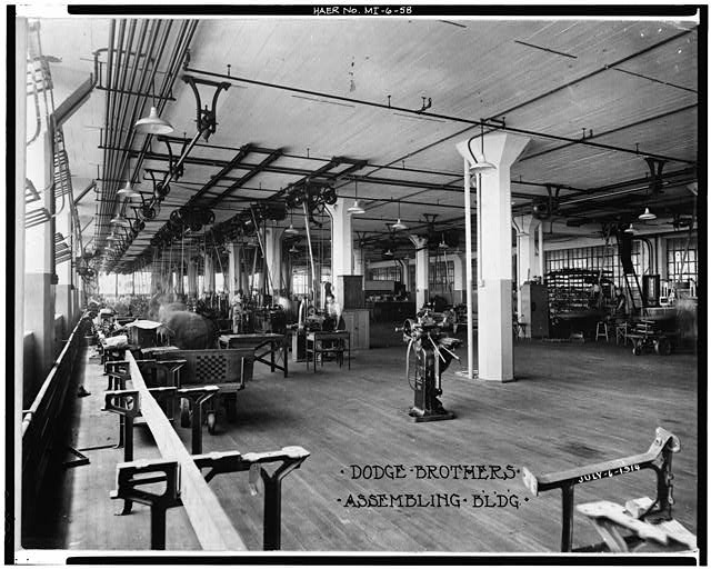 Dodge Hamtramck Plant ASSEMBLING BUILDING #1 INTERIOR VIEW WEST 1915