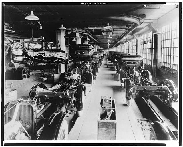 Dodge Hamtramck Plant ASSEMBLING BUILDING #1, BODY DROP, VIEW EAST 1915
