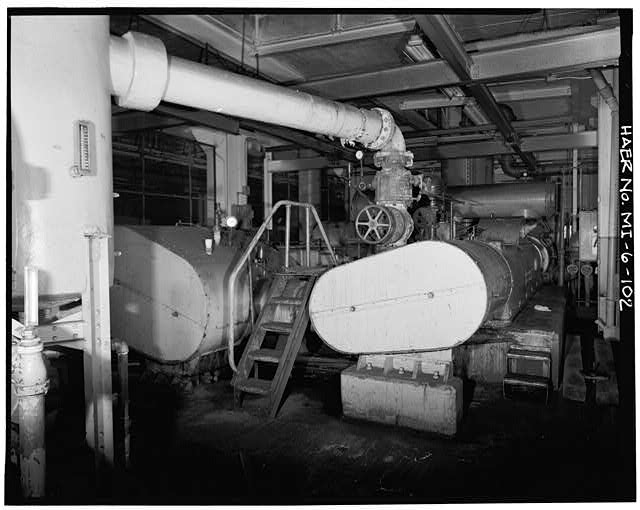 Dodge Hamtramck Plant BODY BUILDING, FIRST FLOOR, VIEW NORTH WITH COMPRESSORS, 1980
