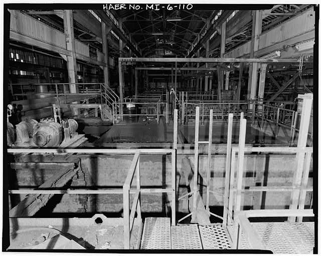 Dodge Hamtramck Plant BODY BUILDING, VIEW SOUTH WITH TOP OF SLUDGE TANKS, 1980
