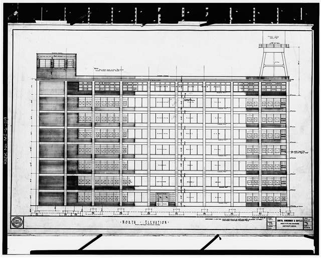Dodge Hamtramck Plant Photocopy of drawing, 1919 (S, H and G) CONSTRUCTION BUILDING, NORTH