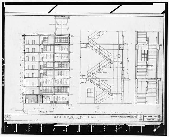 Dodge Hamtramck Plant Photocopy of drawing, 1919 (S, H and G) CONSTRUCTION BUILDING, CROSS SECTION