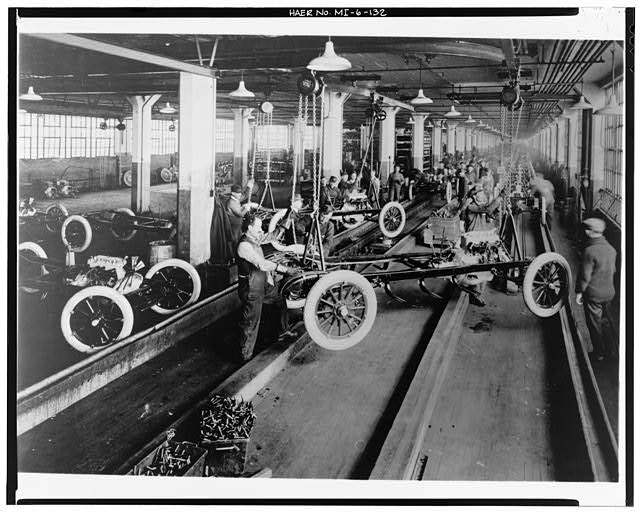 Dodge Hamtramck Plant MAIN BUILDING #1, CHASSIS ASSEMBLY LINE, VIEW SOUTH, 1915