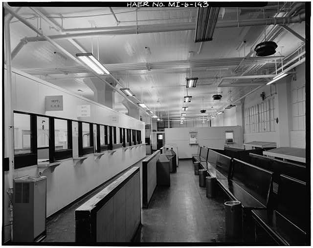 Dodge Hamtramck Plant MAIN BUILDING #2, THIRD FLOOR PAYROILL OFFICE, VIEW SOUTH, 1980