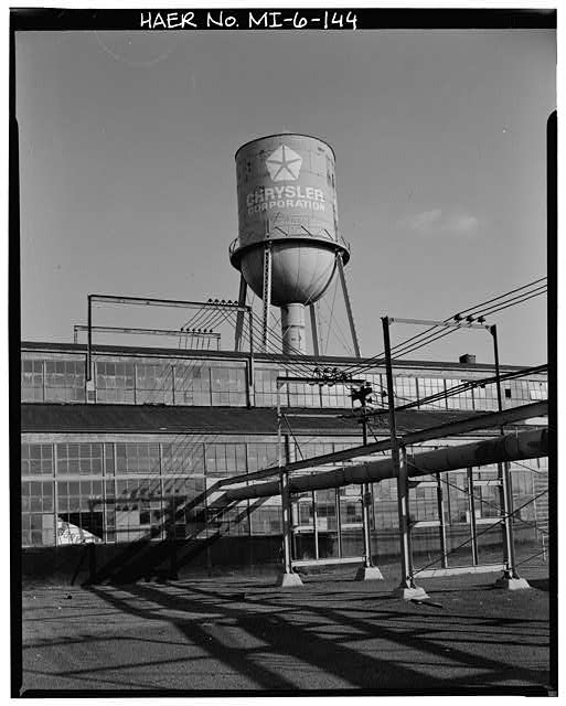 Dodge Hamtramck Plant MAIN BUILDING #2, WATER TOWER VIEW EAST, 1980