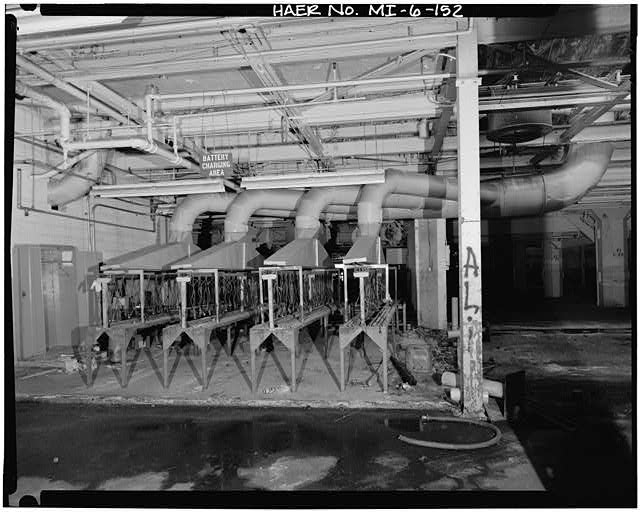 Dodge Hamtramck Plant MAIN BUILDING #4, FIRST FLOOR, VIEW EAST, BATTERY CHARGING AREA, 1980