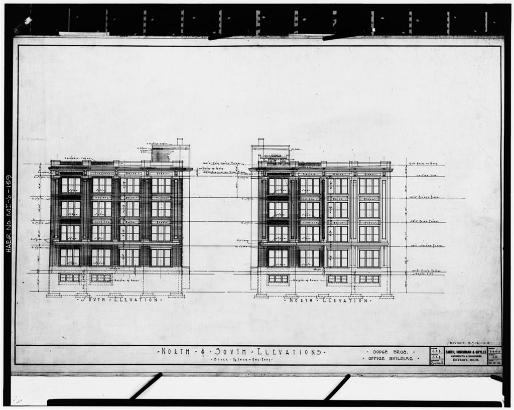 Dodge Hamtramck Plant OFFICE BUILDING, NORTH AND SOUTH ELEVATIONS, 1914