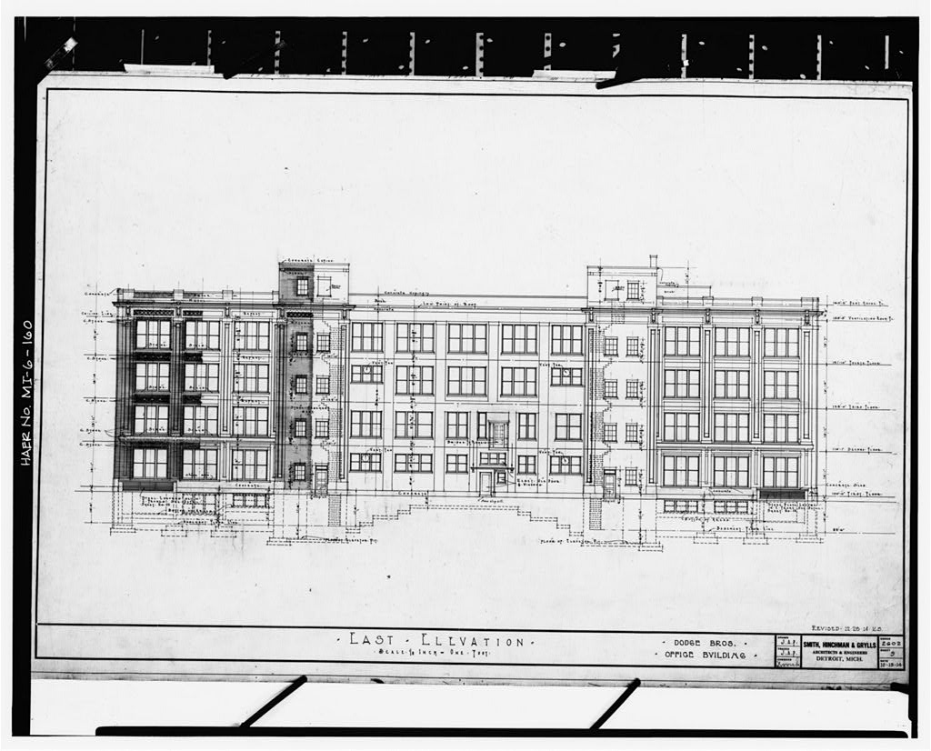 Dodge Hamtramck Plant OFFICE BUILDING, EAST ELEVATION, 1914