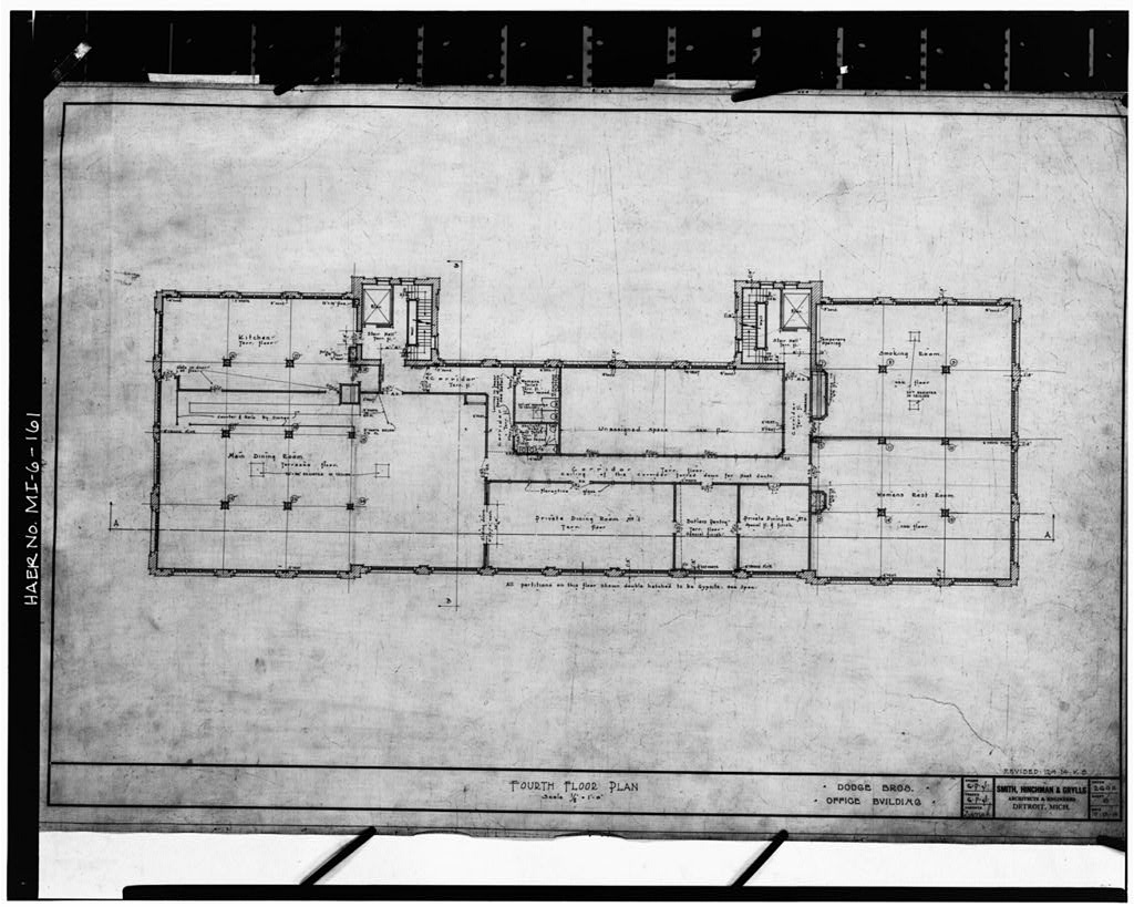 Dodge Hamtramck Plant OFFICE BUILDING, FOURTH FLOOR, PLAN, 1914