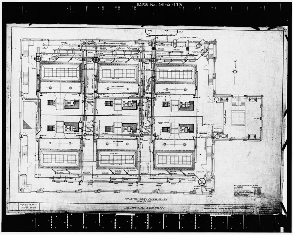 Dodge Hamtramck Plant POWER HOUSE, FAN AND ASH ROOM FLOOR PLAN, 1920