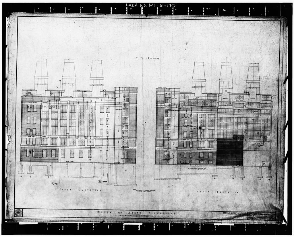 Dodge Hamtramck Plant POWER HOUSE, NORTH AND SOUTH ELEVATIONS, 1920