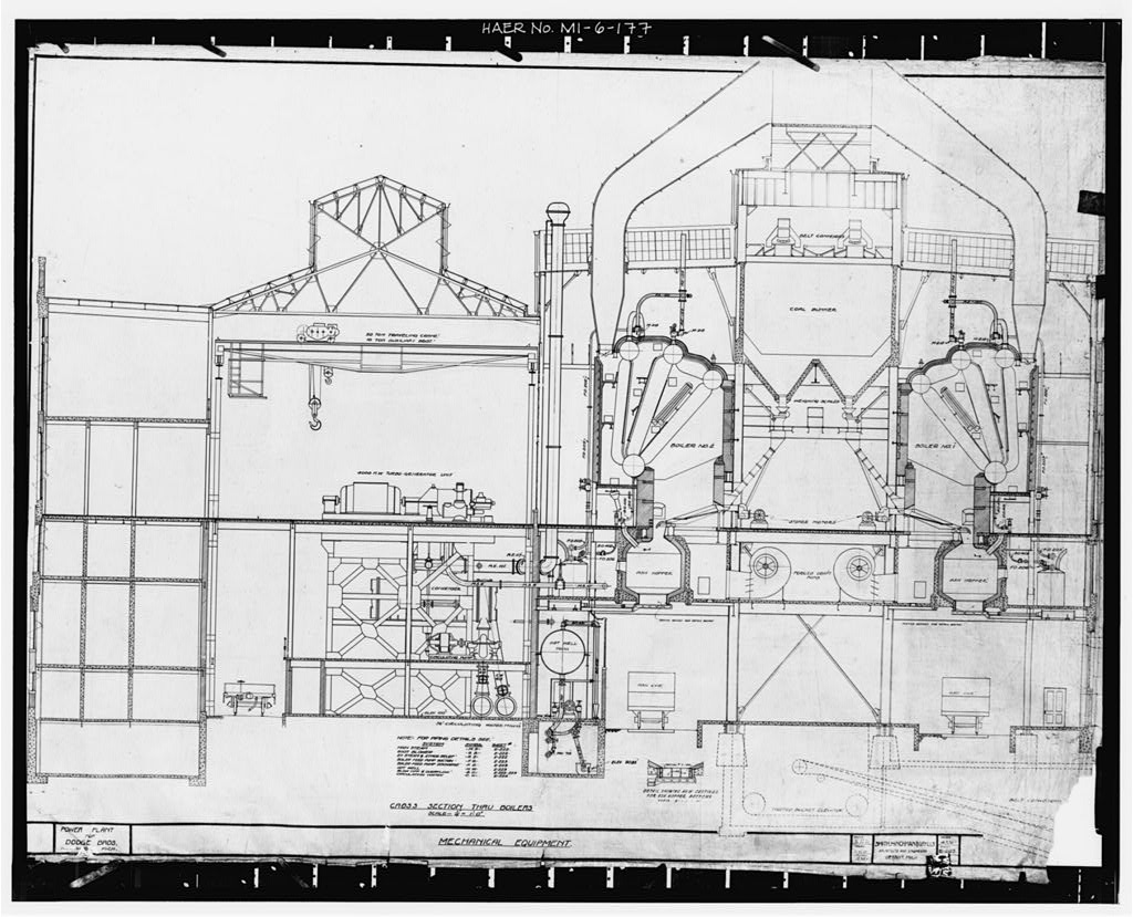 Dodge Hamtramck Plant POWER HOUSE, CROSS SECTION, 1920
