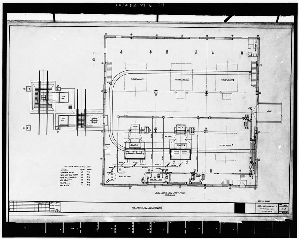 Dodge Hamtramck Plant POWER HOUSE, FAN ROOM FLOOR PLAN, 1925