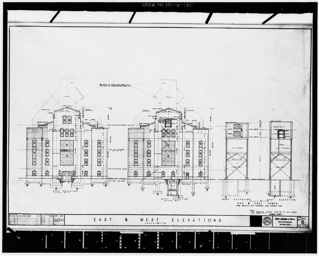 Dodge Hamtramck Plant POWER HOUSE, ELEVATIONS, 1925