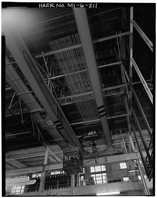 Dodge Hamtramck Plant POWER HOUSE, INTERIOR OF ROOF, FIFTY TON CRANE, VIEW SOUTH, 1980