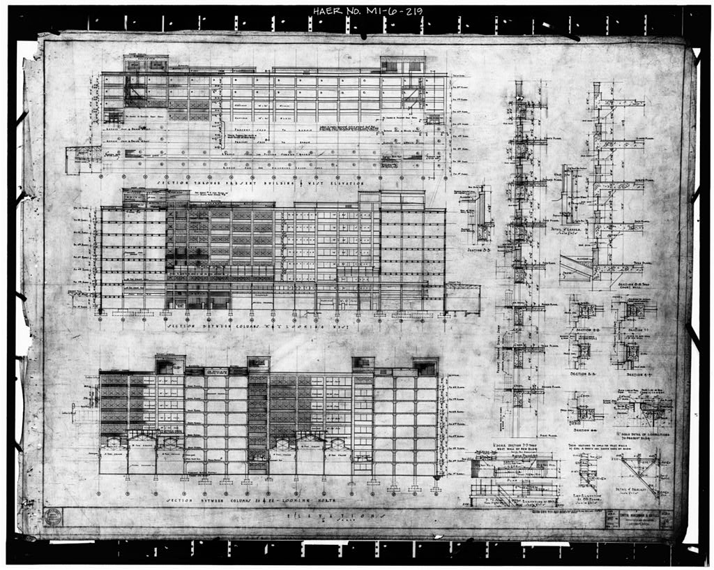 Dodge Hamtramck Plant PRESSED STEEL BUILDING, ELEVATIONS AND SECTIONS, 1919