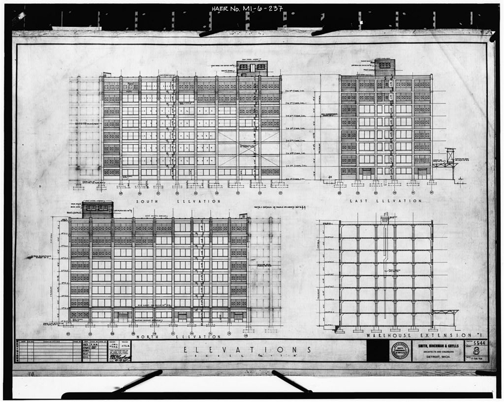 Dodge Hamtramck Plant WAREHOUSE BUILDING, EXTENSION, ELEVATIONS, 1925