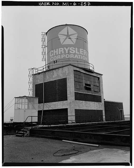 Dodge Hamtramck Plant WAREHOUSE BUILDING, WATER TOWER ON ROOF, VIEW NORTH, 1980