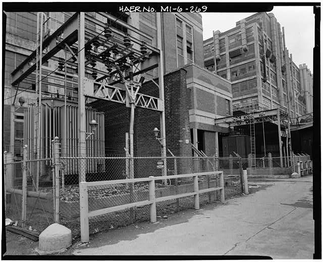 Dodge Hamtramck Plant TRANSFORMERS EAST OF POWER HOUSE, VIEW NORTHWEST, 1980