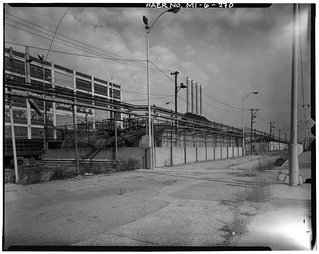 Dodge Hamtramck Plant TANK FARM SOUTH OF ASSEMBLING BUILDING #2, VIEW NORTH, 1980
